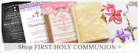 shop First Holy Communion invitations, favors, stickers, cards at Lemon Leaf Prints