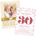Personalized wedding anniversary, adult birthday, graduation and retirement invitations and other related stationery