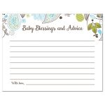 Blue and Green Paisley Boy Baby Shower Blessings and Advice Card