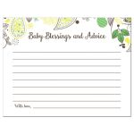 Yellow and Green Paisley Baby Shower Baby Blessings and Advice Cards