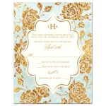 Mint green, ivory and gold vintage floral damask pattern wedding RSVP enclosure cards with monogram and ornamental scroll.