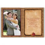Personalized rustic burlap photo wedding thank you card with a burgundy wine ribbon, a gold twine bow, and burnt orange, rust, red, and yellow autumn leaves on it.