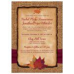 Rustic Fall in Love photo template wedding invitations with a burgundy wine ribbon, orange painted wooden heart, and burnt orange, gold, yellow, rust, and red autumn maple leaves on it.