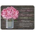 Bridal Shower Invitations - Rustic Pink Peony Mason Jar Wood