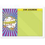Unique and fun pop art comics comic book Bar Mitzvah thank you card
