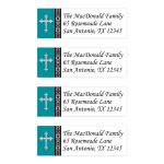 Personalized teal, black, and white address mailing labels have an ornate silver Cross.