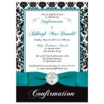 Best teal, black and white damask confirmation, first communion, baptism invitation with a printed ribbon, bow, jeweled brooch with silver cross, doves, bread and wine.