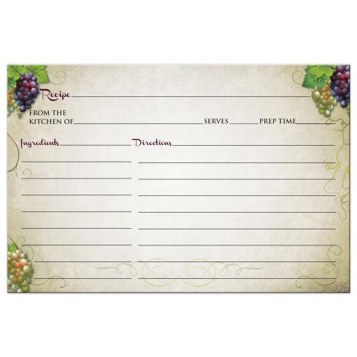 Wedding Gift Recipe Cards : Home Gifts Recipe Cards Recipe Card - Vineyard Wine and Grapes Bridal ...