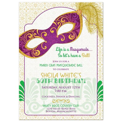 Mardi Gras 50th Birthday Party Invitation Masquerade Mask