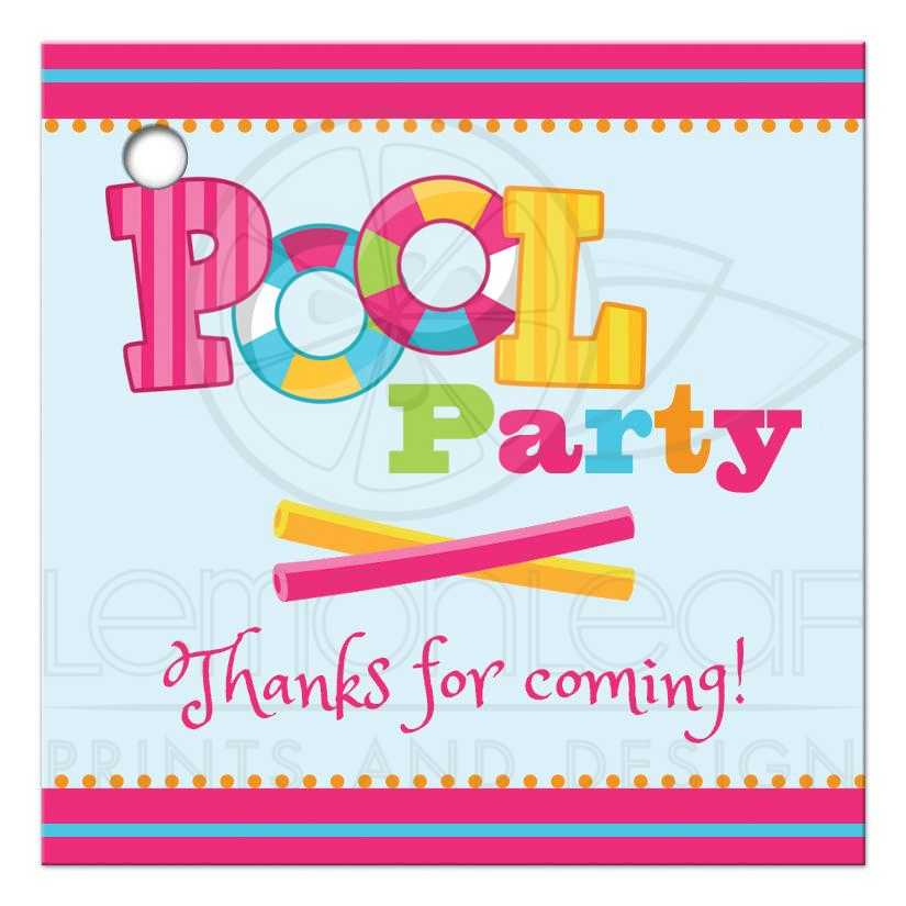 Thanks for Coming Favor Tags - Girl's Pool Party