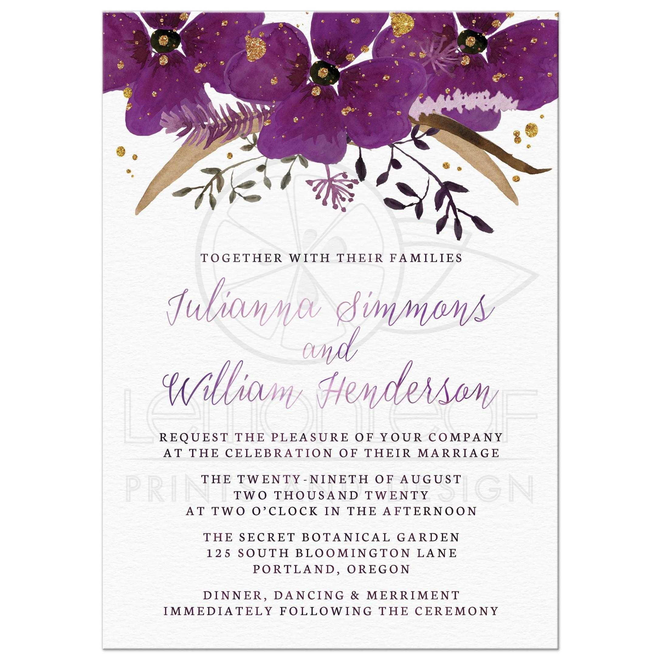 Invitations Wedding Invitations Pretty Watercolor Violet Flowers