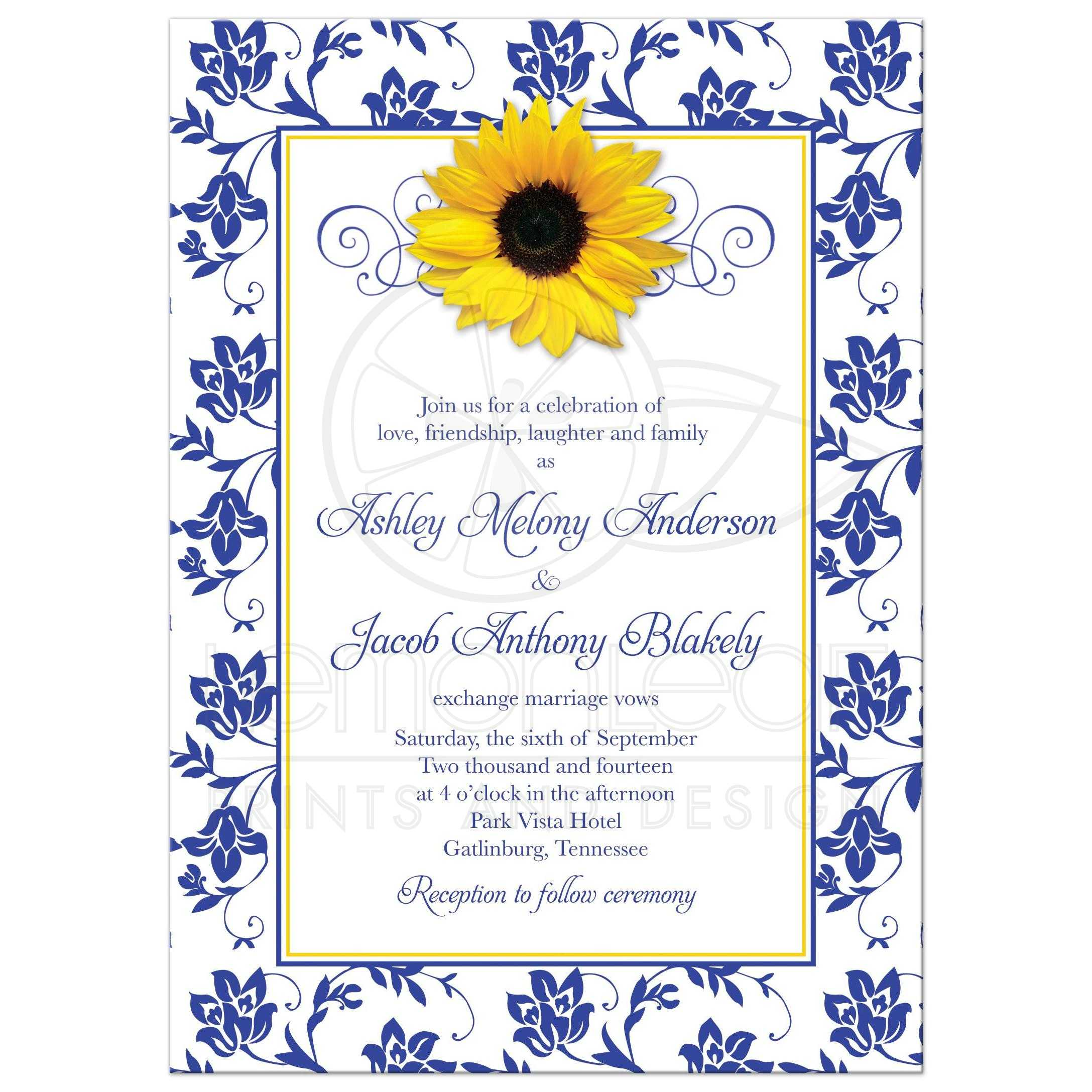 blue and yellow wedding invitation cards - 28 images - navy blue and ...