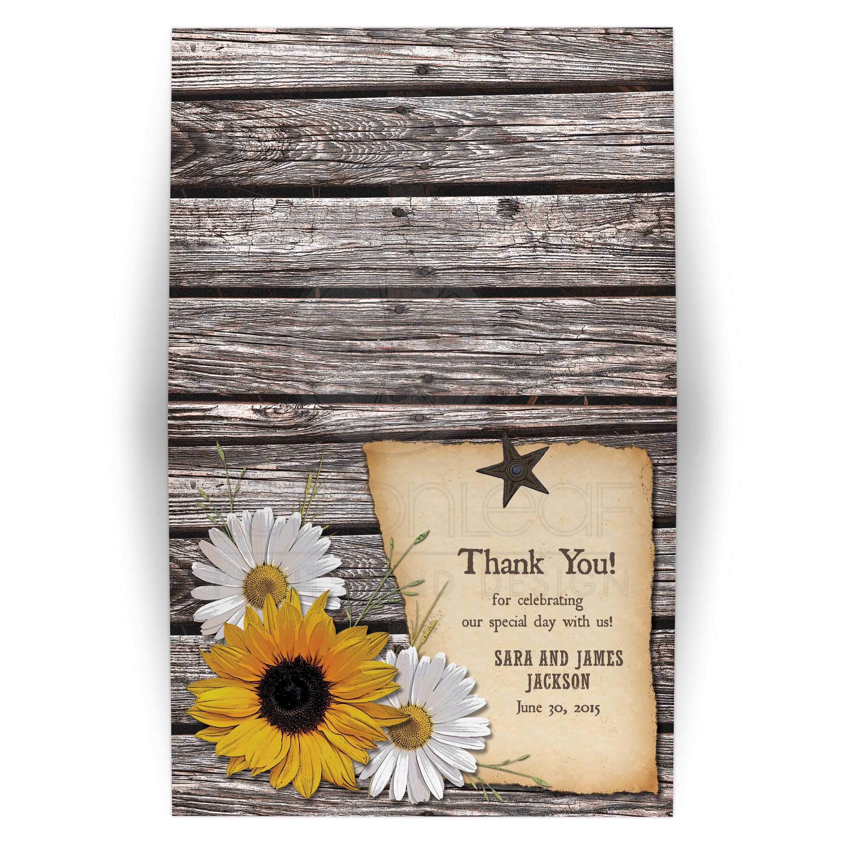 Country Wedding Thank You Card Rustic Sunflower Daisy Wood
