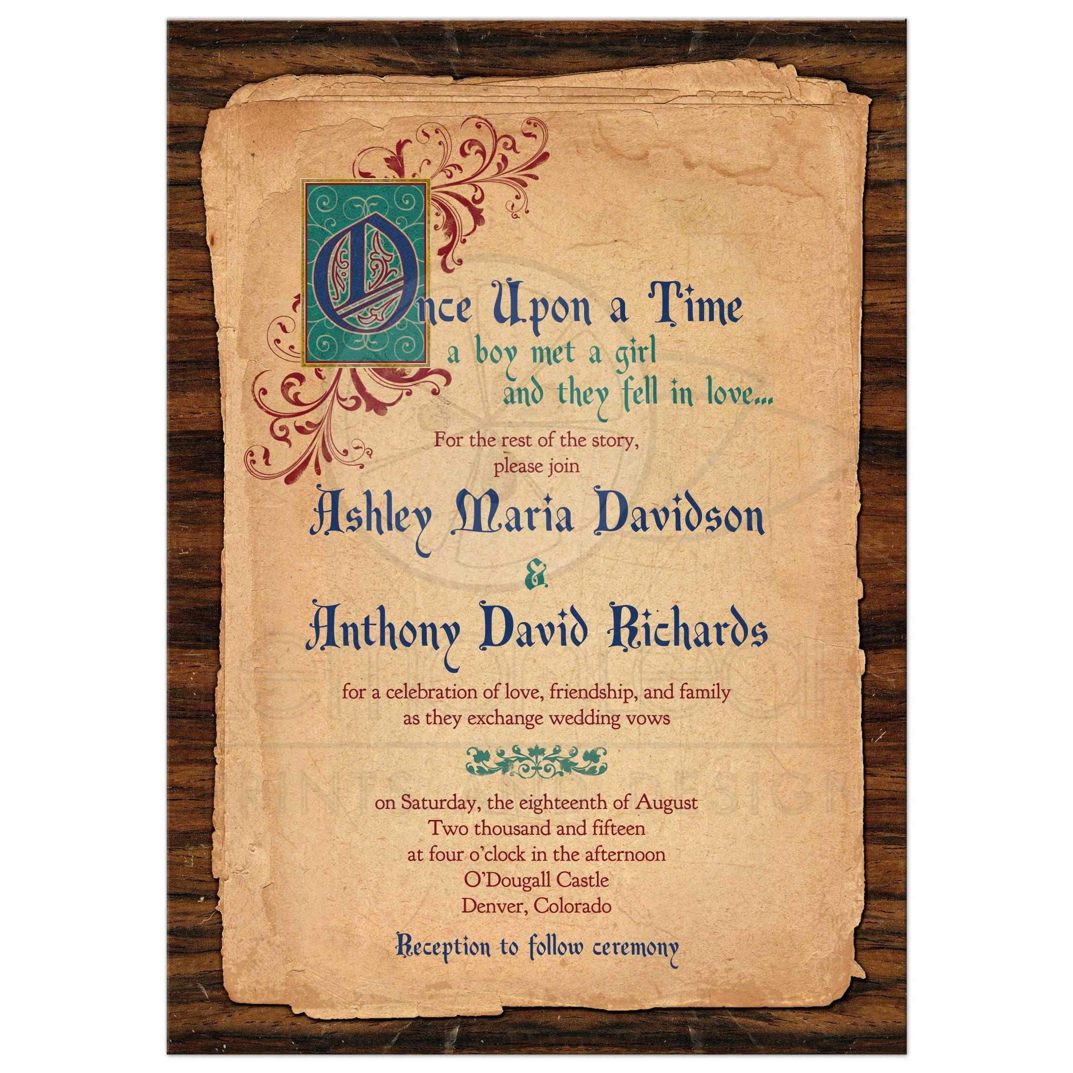 Fairy Tale Wedding Invitation Medieval Once Upon A Time