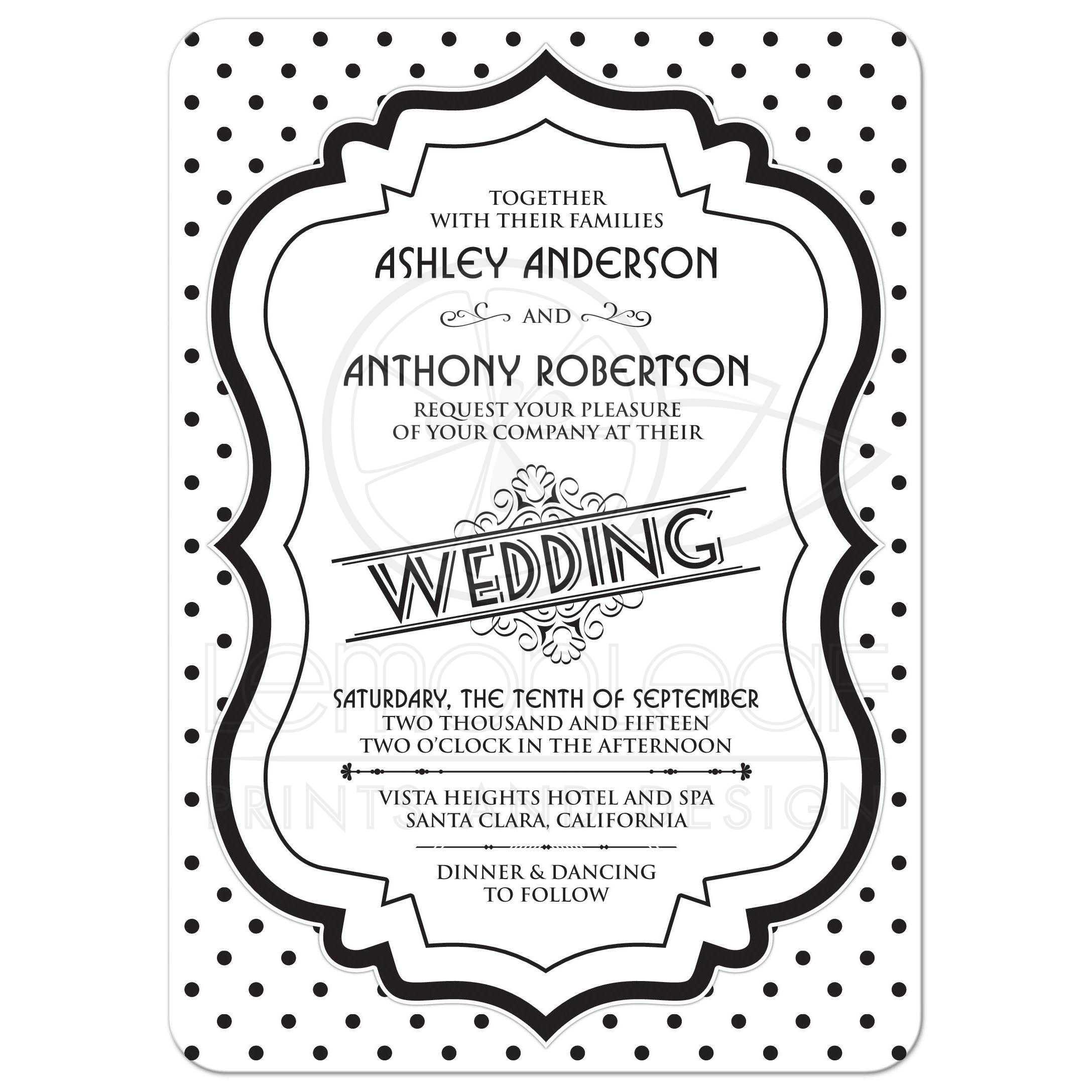 Wedding Invitation Retro 50s Black White Polka Dot