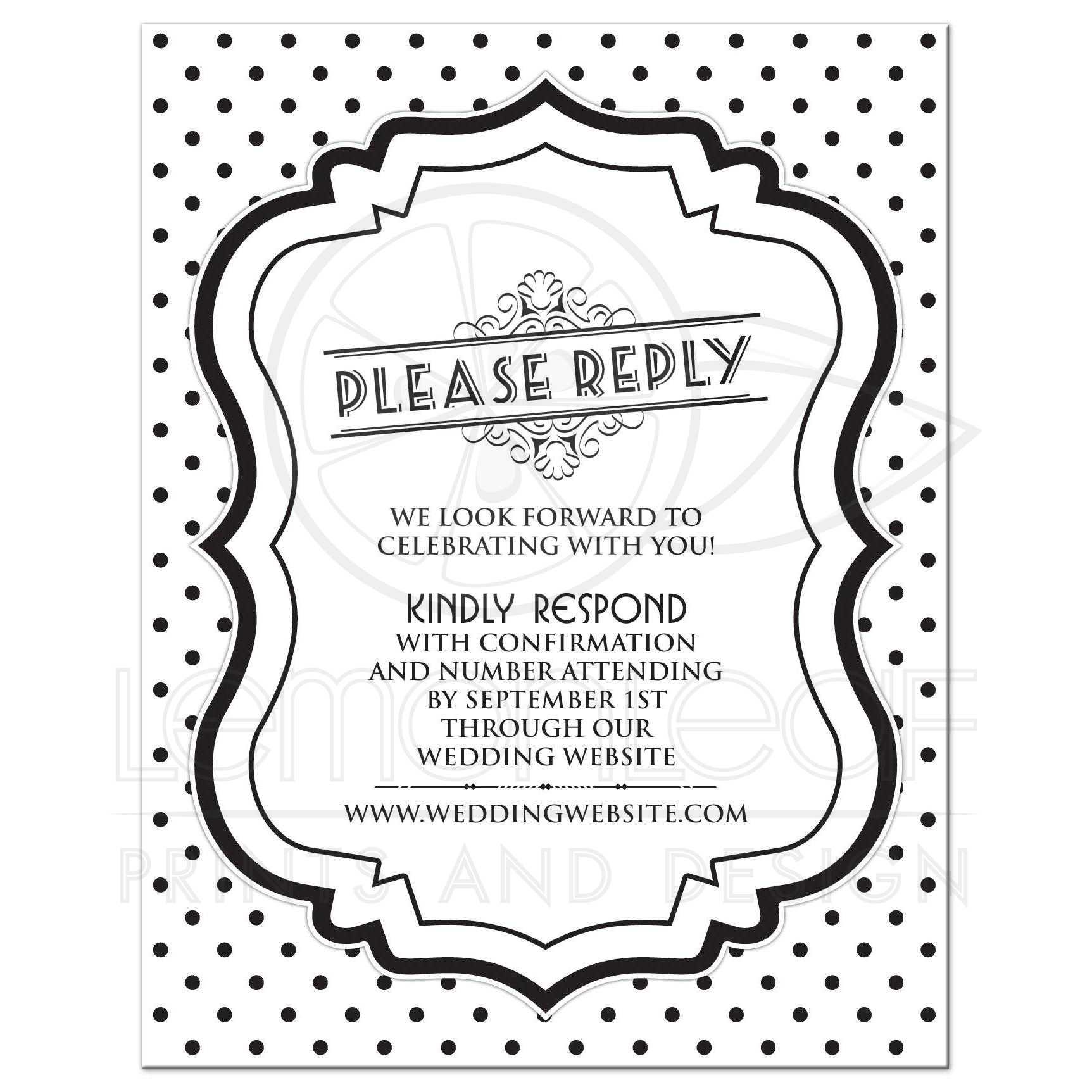 wedding website rsvp retro 50s black white polka dot