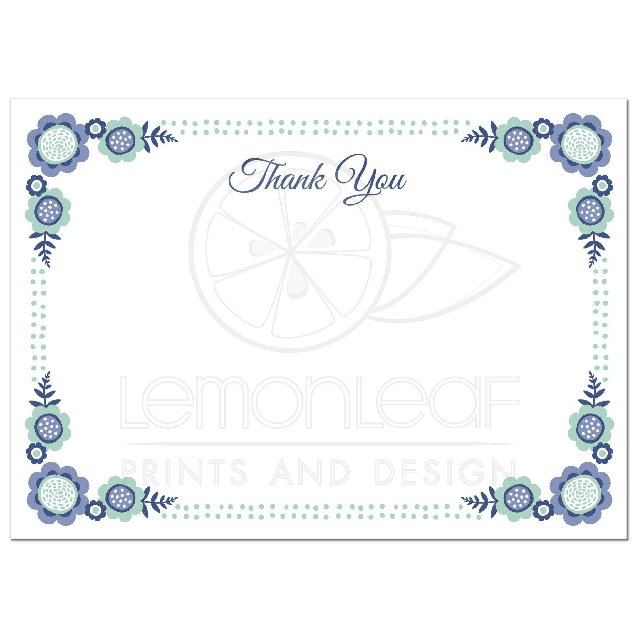 Blue bloom flat thank you note card with cute flower ...