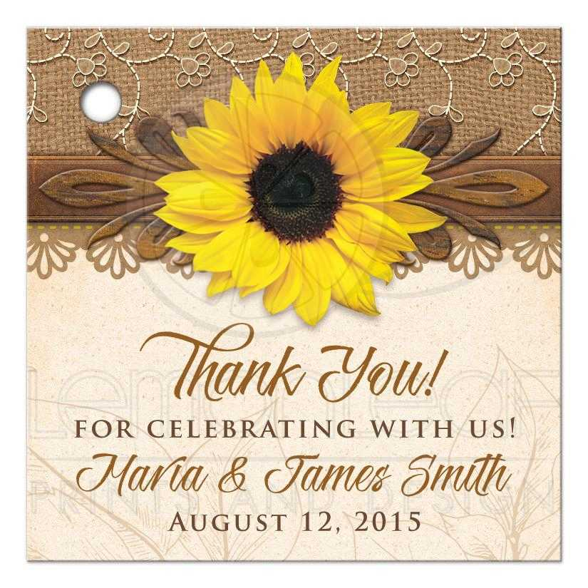Wedding Thank You Gift Tags: Rustic Sunflower Personalized Wedding Favor Tags Burlap