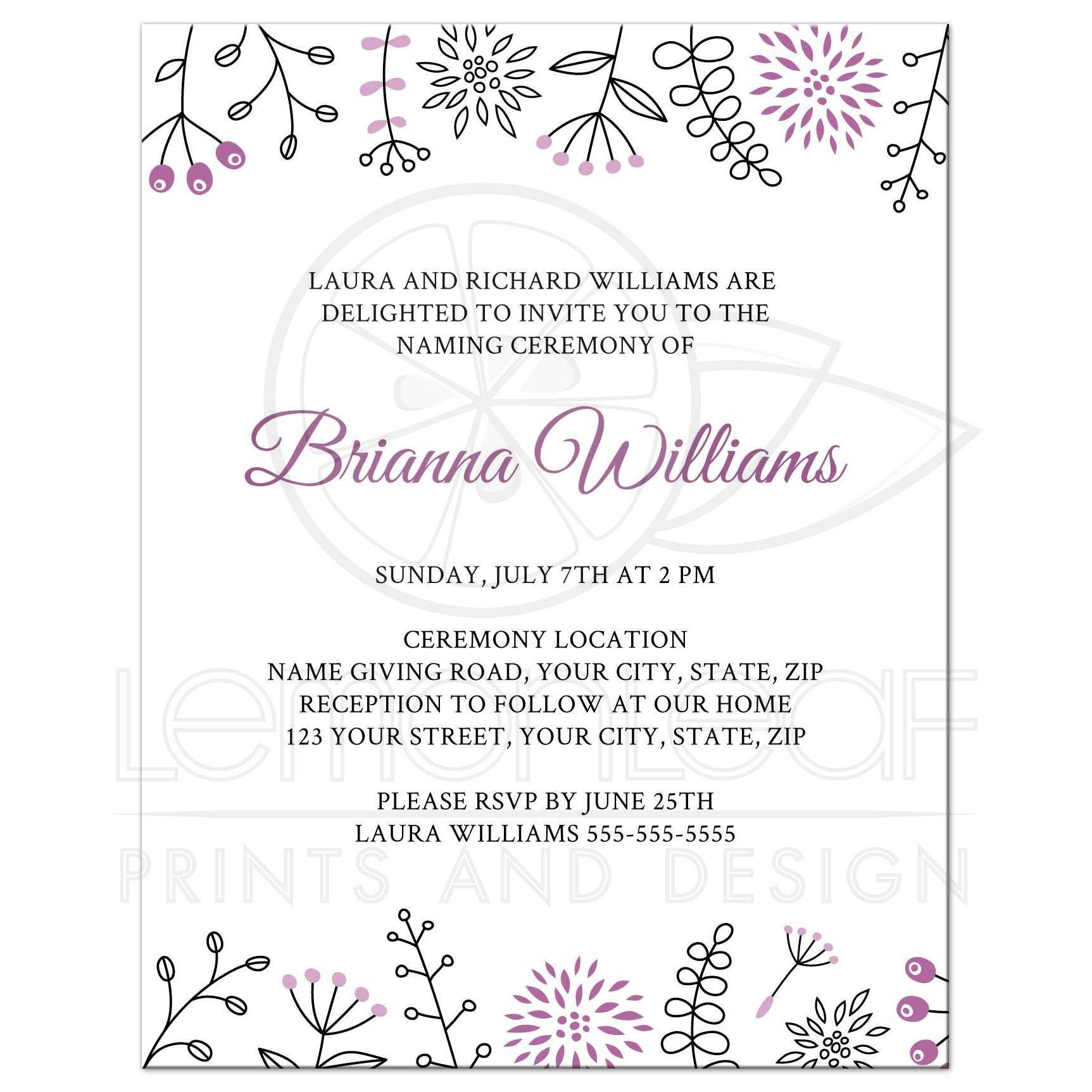 Naming/name giving ceremony invitation with cute and ...