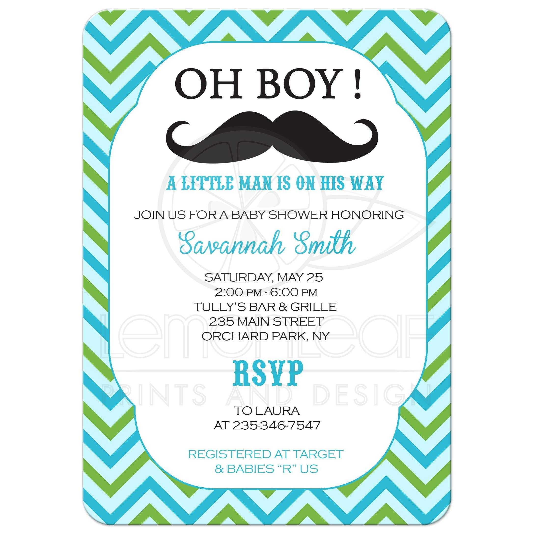 home baby kids mustache little man baby shower invitation