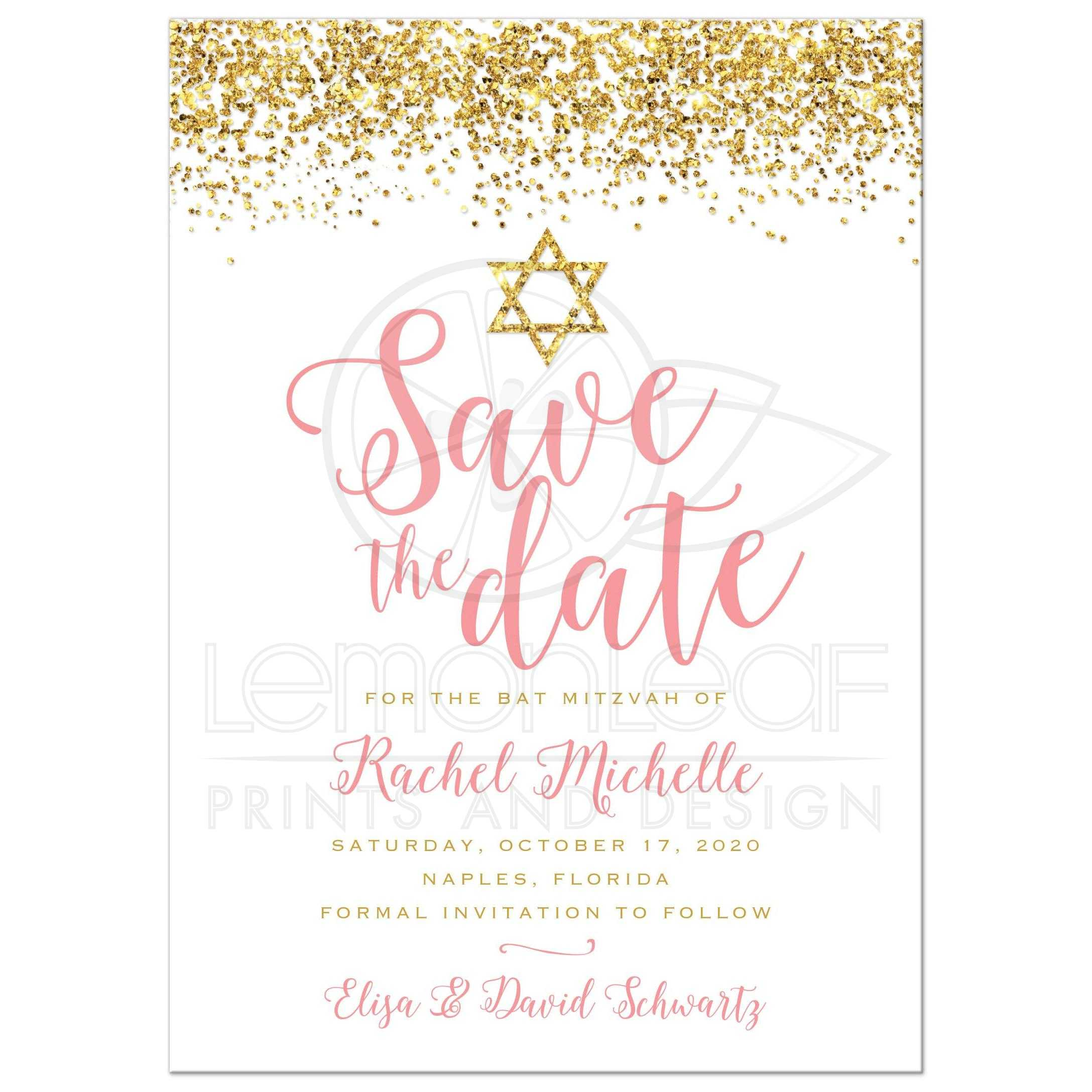 Bat Mitzvah Save The Date Cards Gold Glitter Look