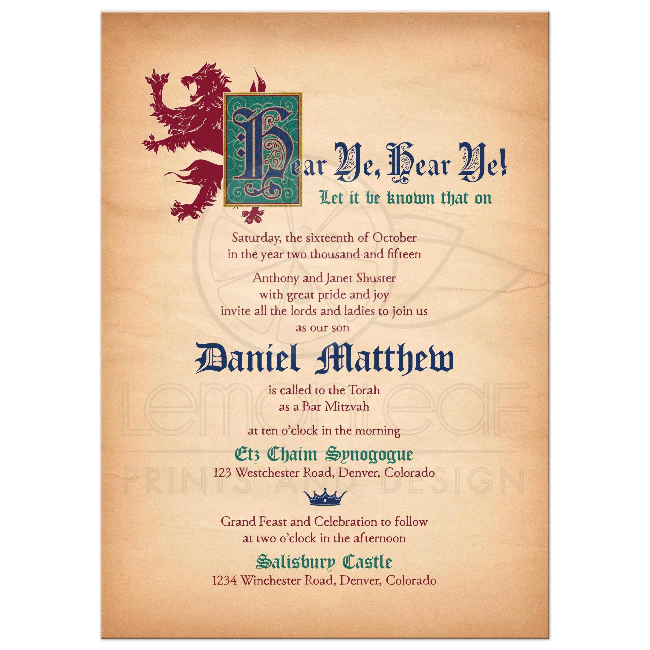 Medieval Bar Mitzvah Invitation Fantasy Gothic Royal Decree