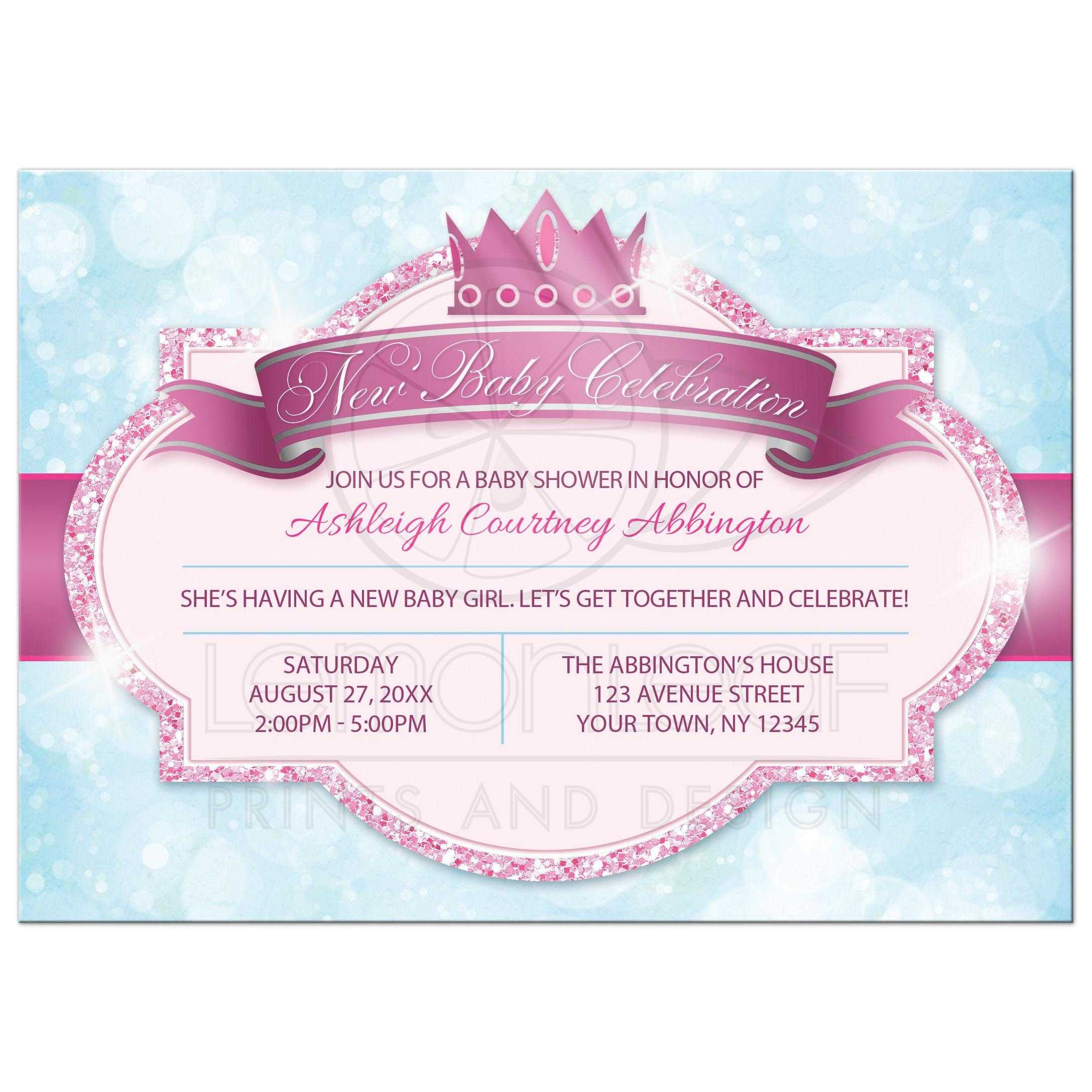 Princess Baby Shower Invitations Royal Pink Glitter Blue S Front