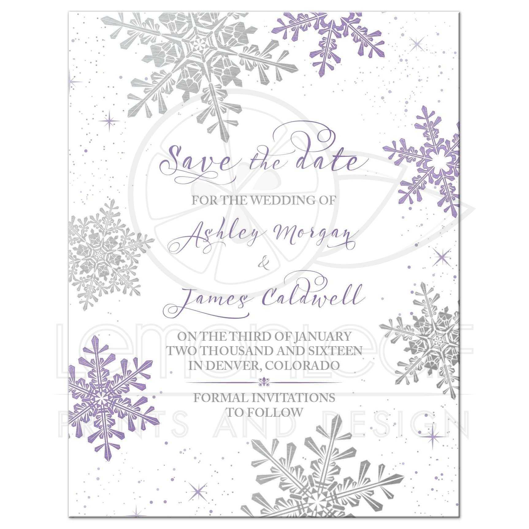 Purple Silver Winter Wedding Save The Date Invitation besides  on wood grain wedding invitations