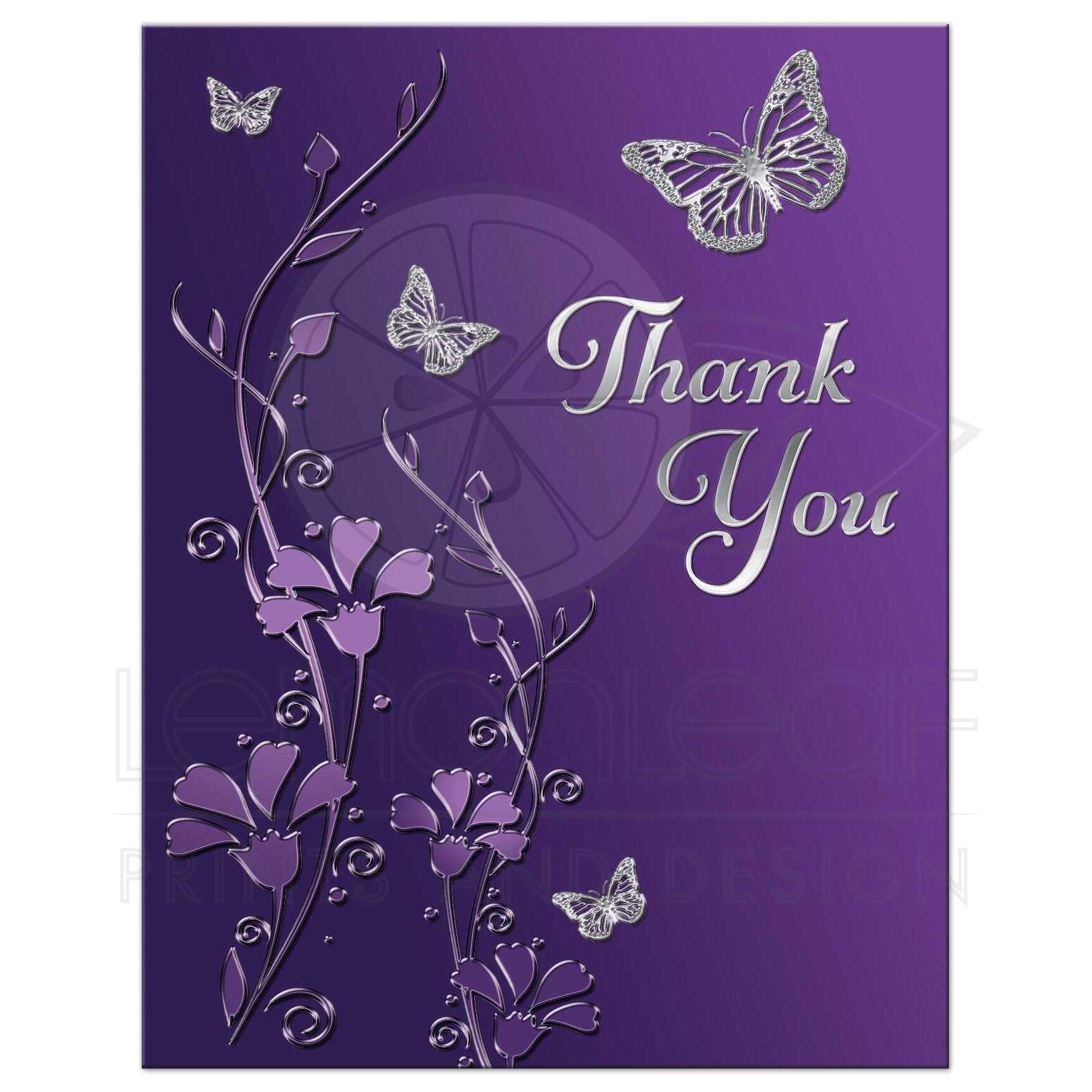 Bat Mitzvah Thank You Note Card - FLAT | Purple, Silver ...