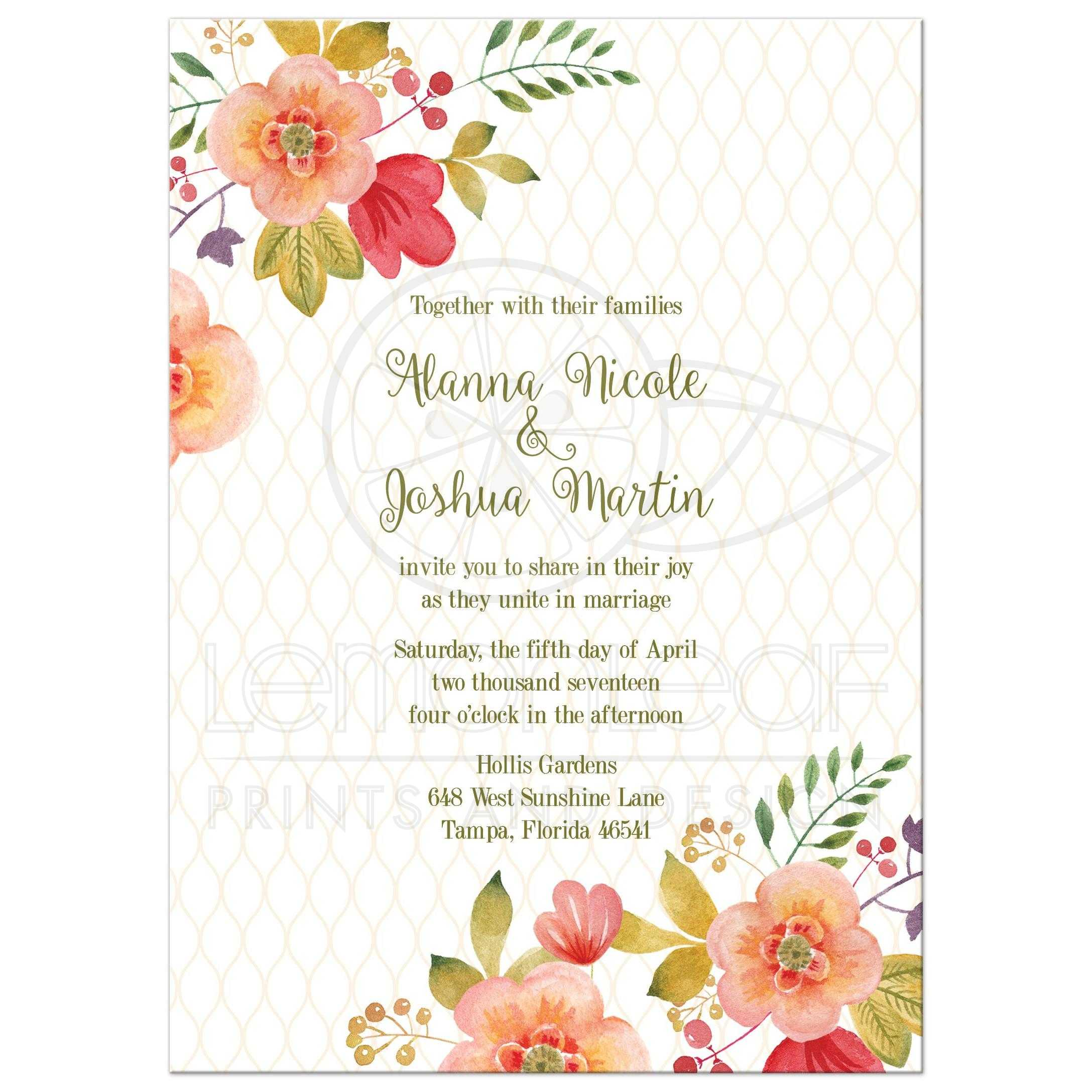Floral Wedding Invitation - Olive Green and Pink Watercolor Flowers
