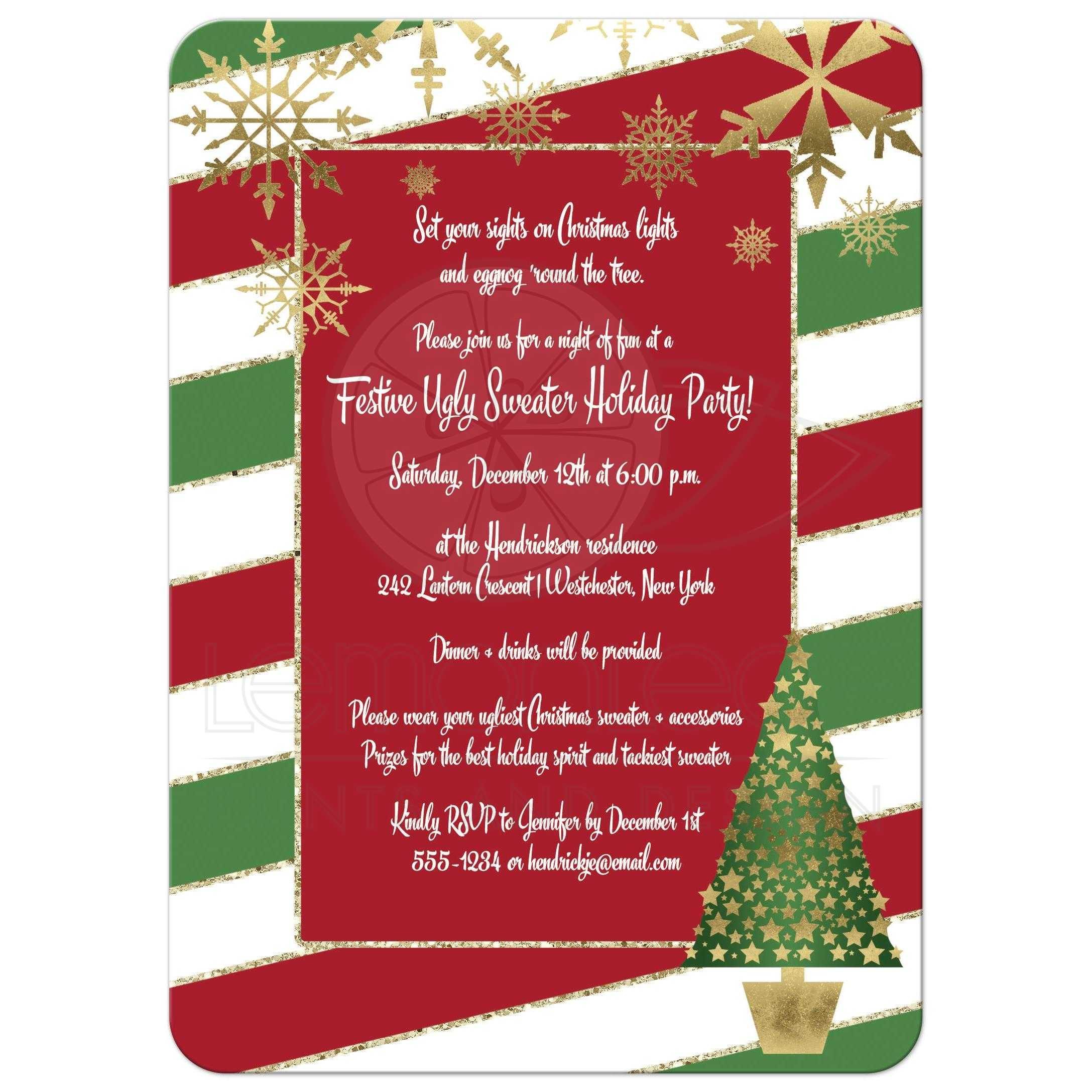 Red And Gold Home Decor Holiday Party Invitation Red White Green Candy Cane