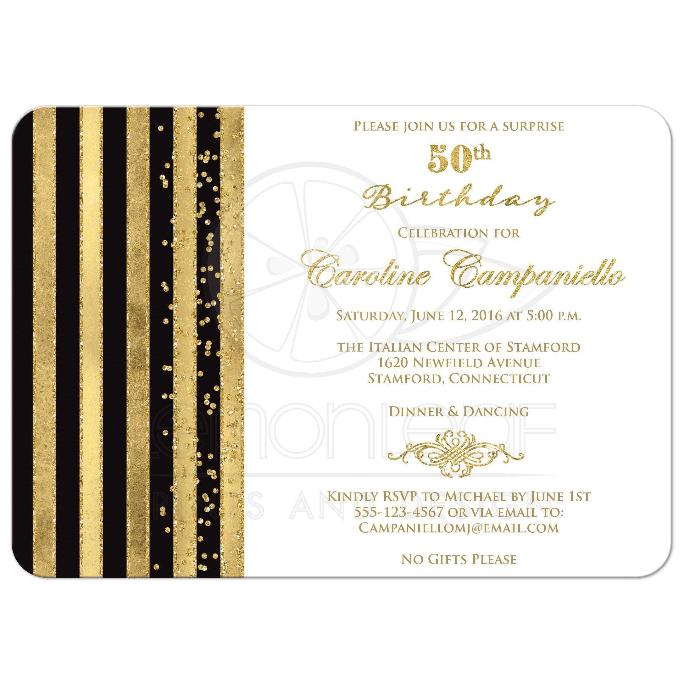 Golden Home Decor 50th Birthday Invitation Black White Gold Stripes