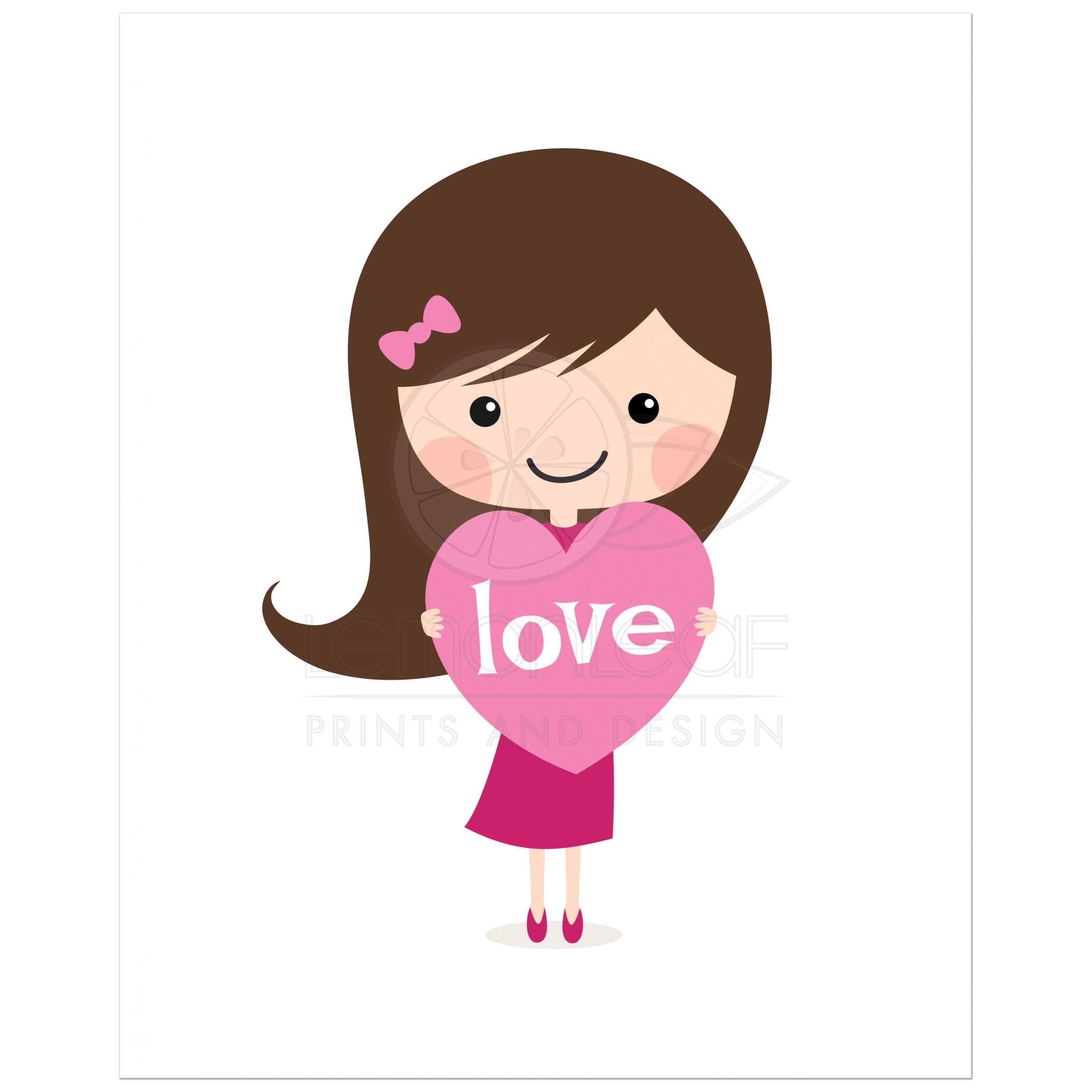 cute bru te girl holding a love heart nursery wall art