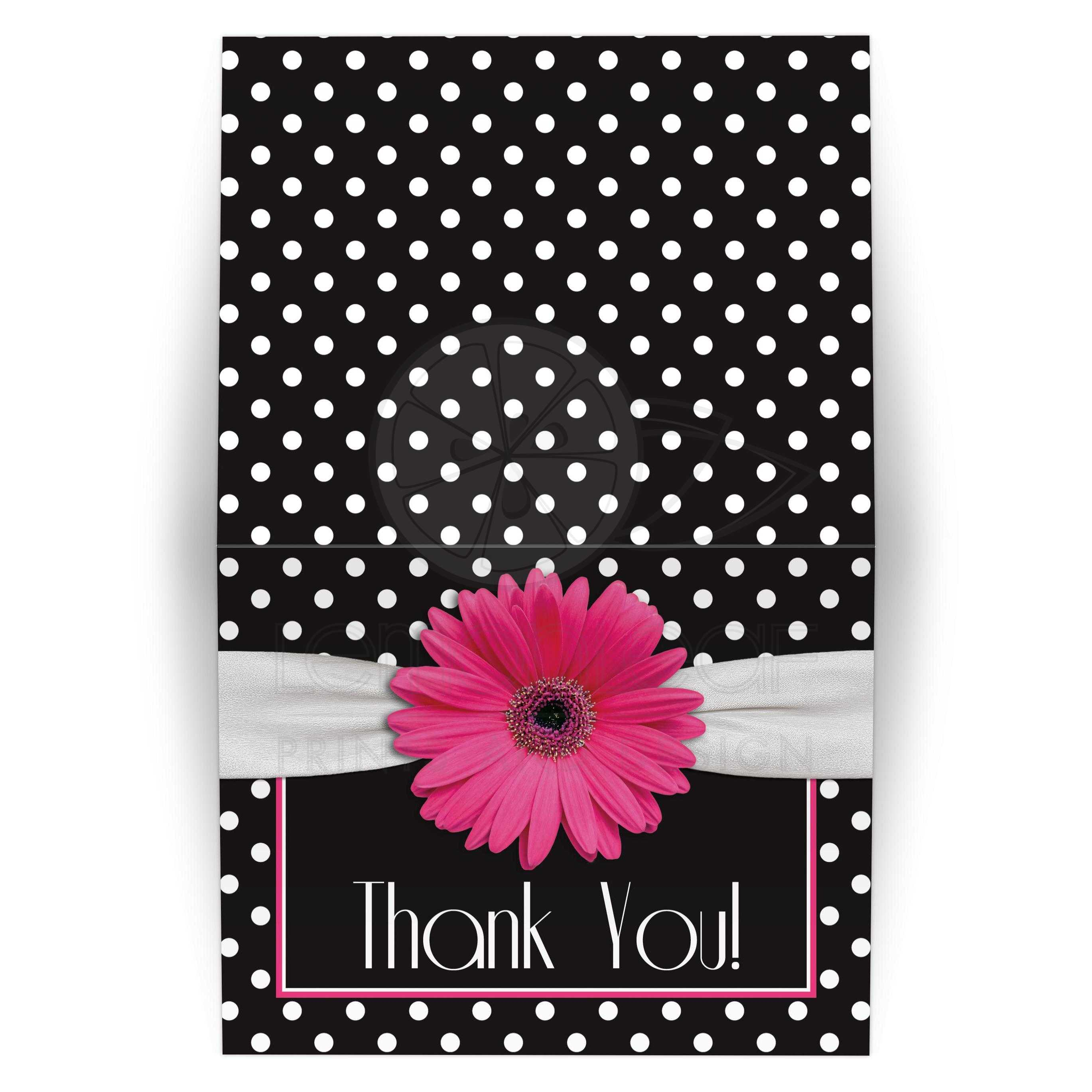 Pink Daisy Polka Dot Thank You Card Pink Black White