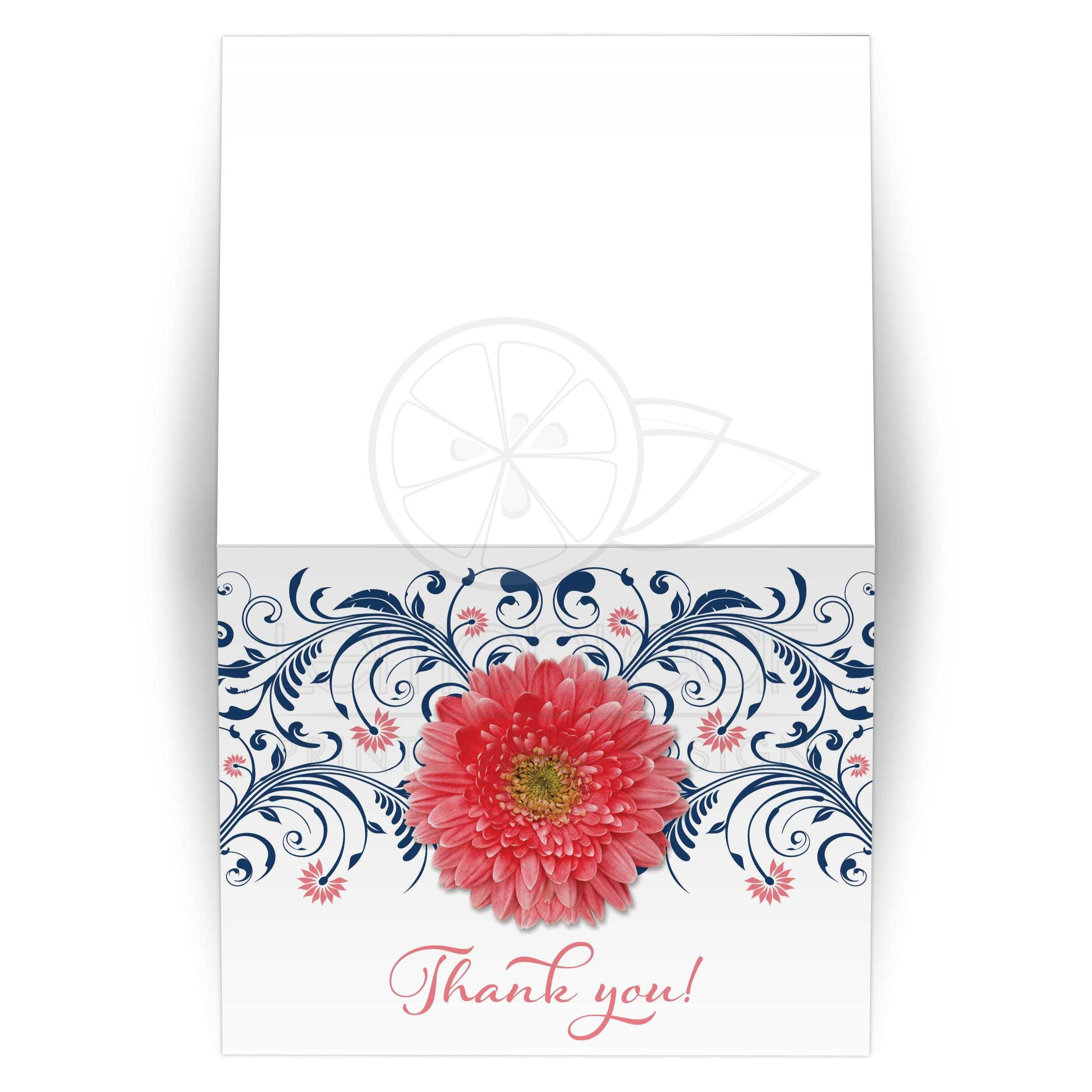 Coral Daisy Navy Floral Wedding or Bridal Shower Thank You Card