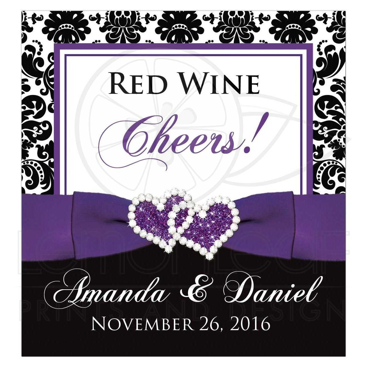 Wedding Wine Bottle Label 2 | Black and White Damask | Purple Ribbon | Joined Hearts