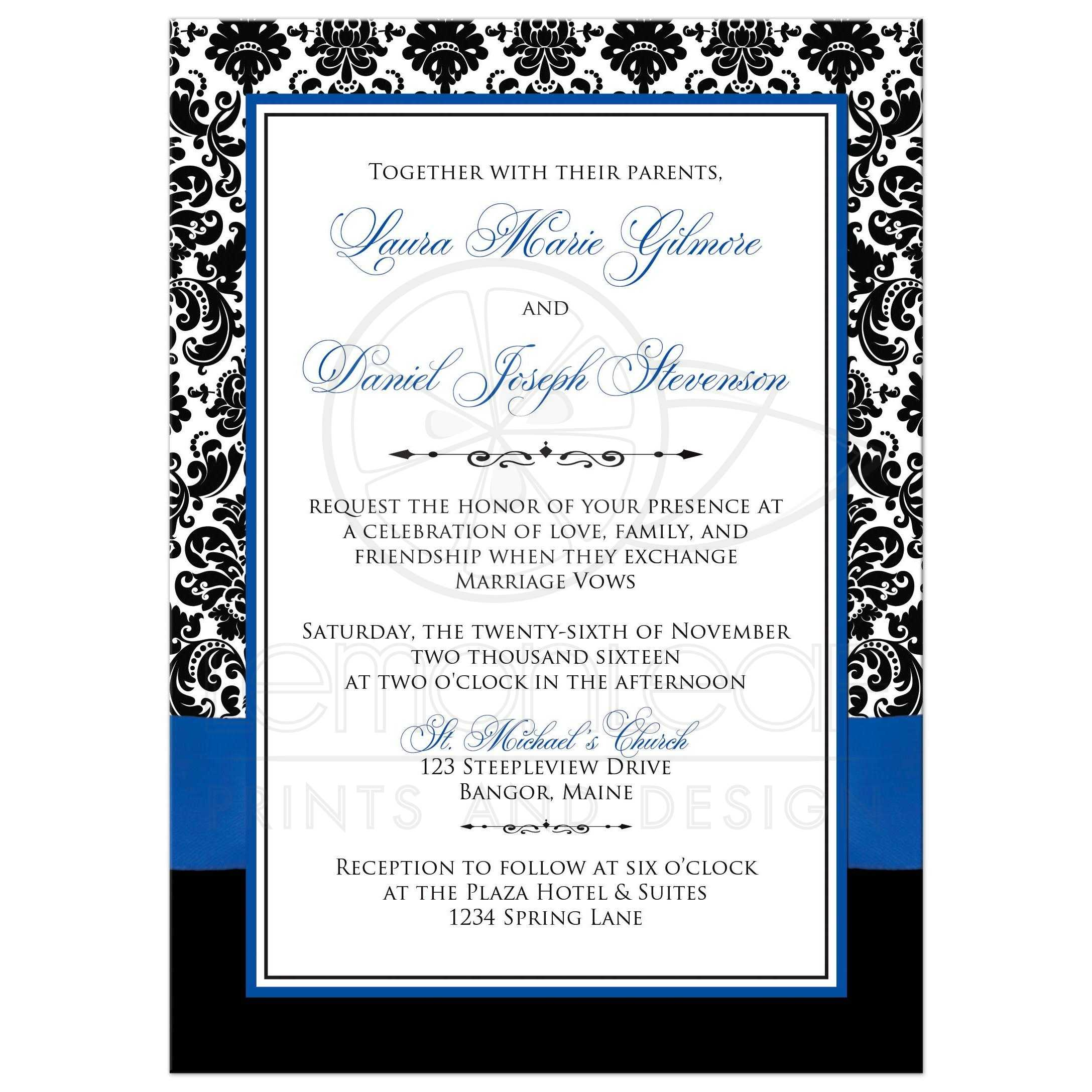 Wedding Invitation Editable Template Royal Blue – Wedding ...