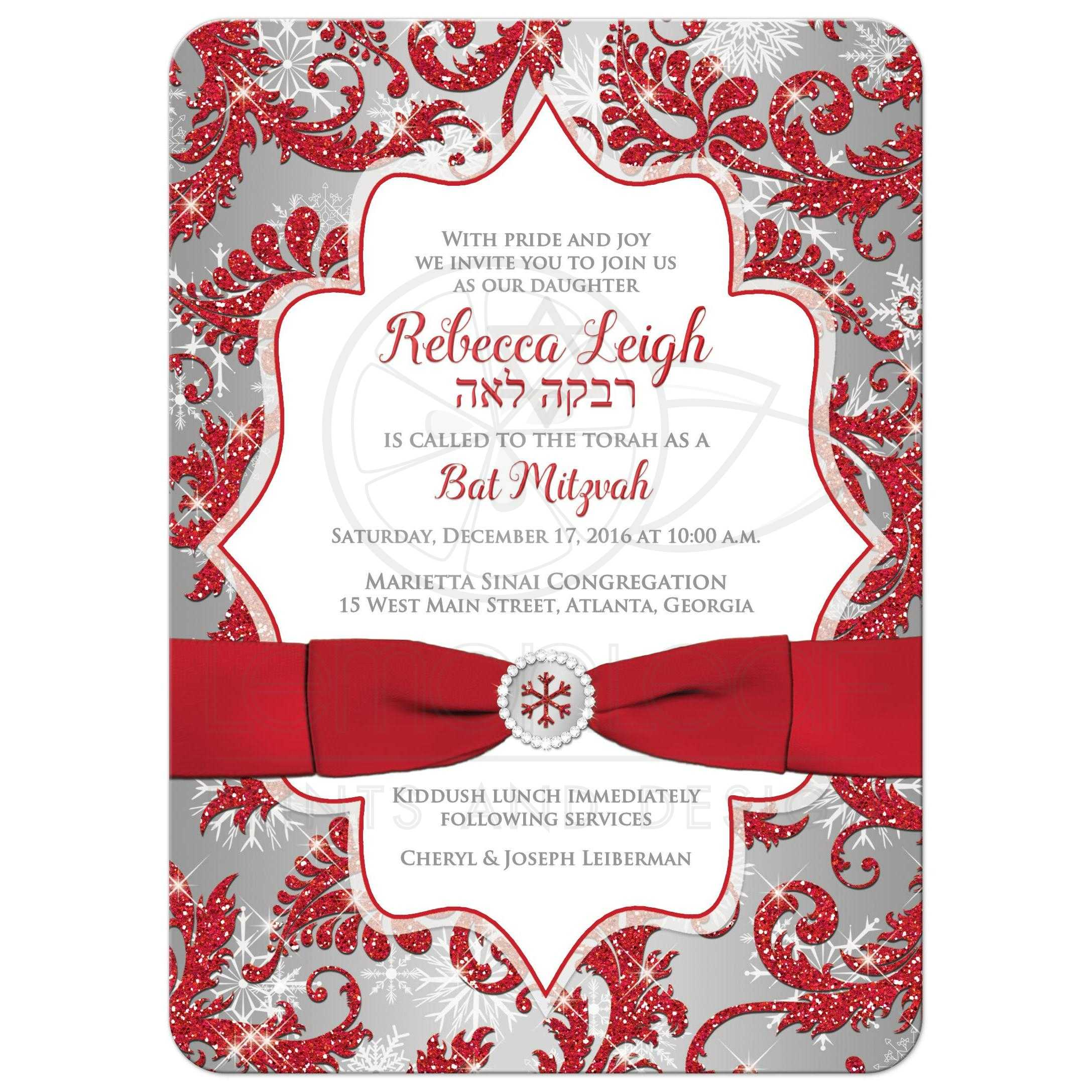 Bat Mitzvah Invitation Winter Wonderland Red Silver