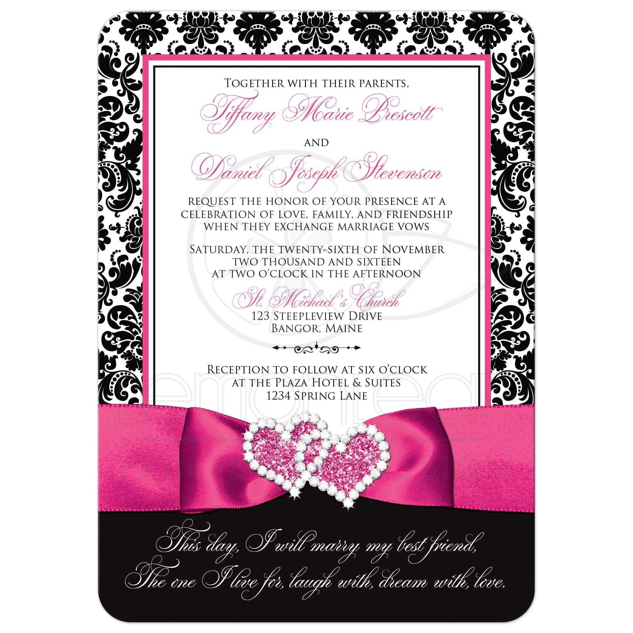 brown pink rhinestone pocket printable wedding invitations kit 25ct ...
