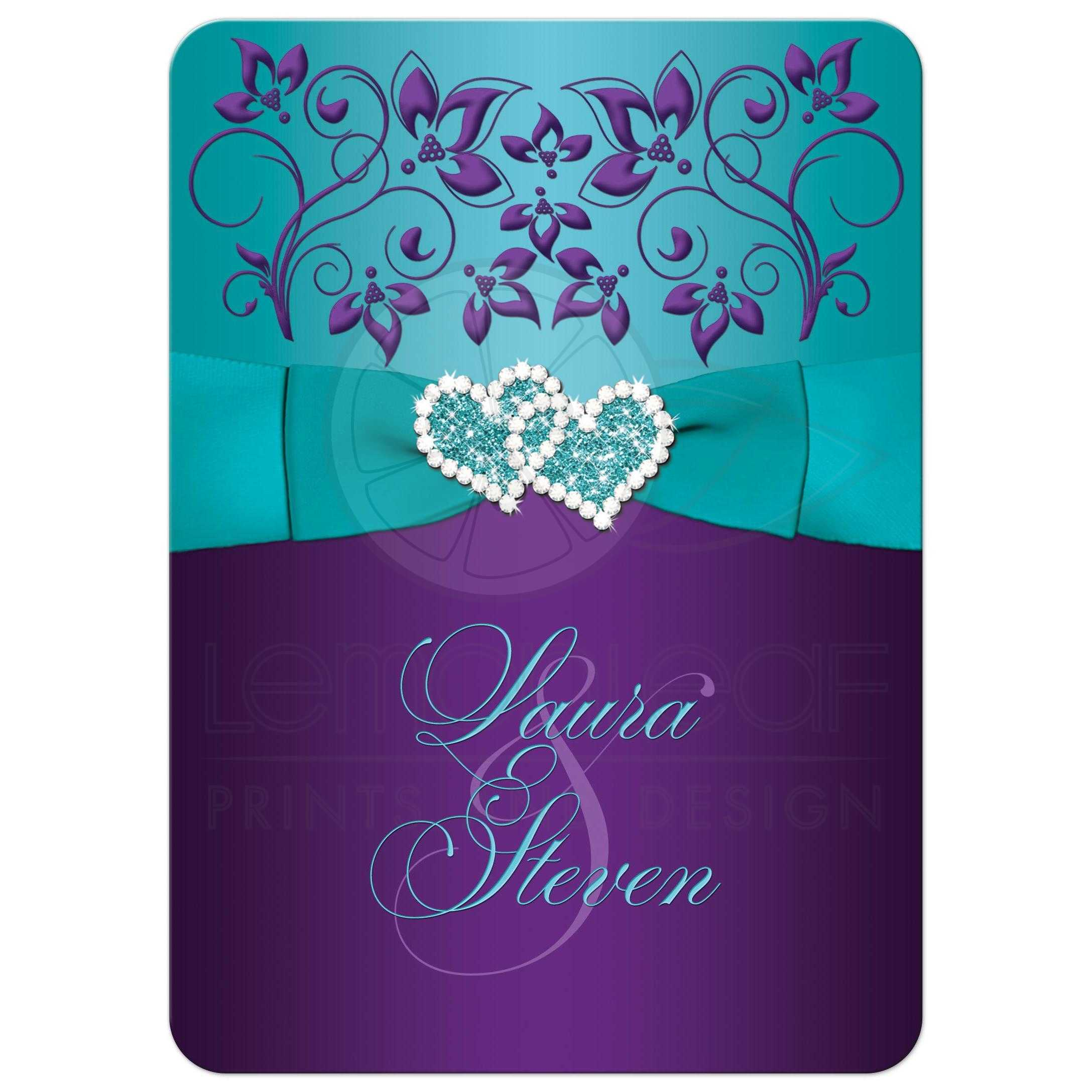Wedding Invitation Purple Aqua White Floral Printed