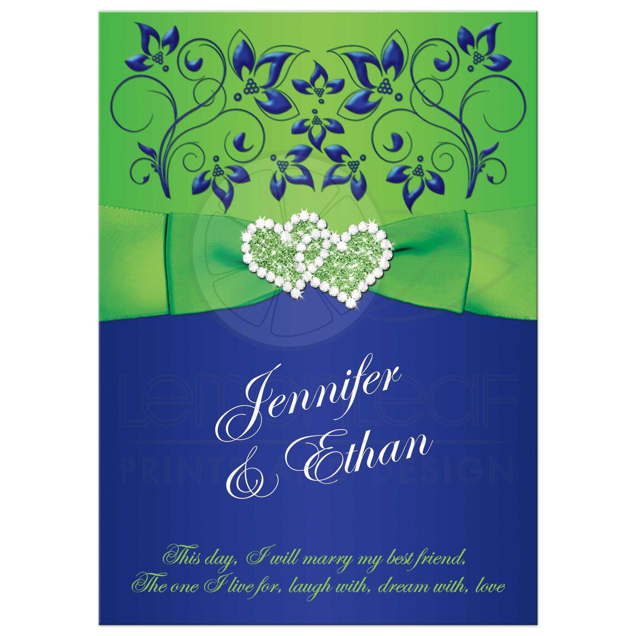 Wedding Invitation | Royal Blue, Lime Green Floral | PRINTED Ribbon, Bow, Double Hearts
