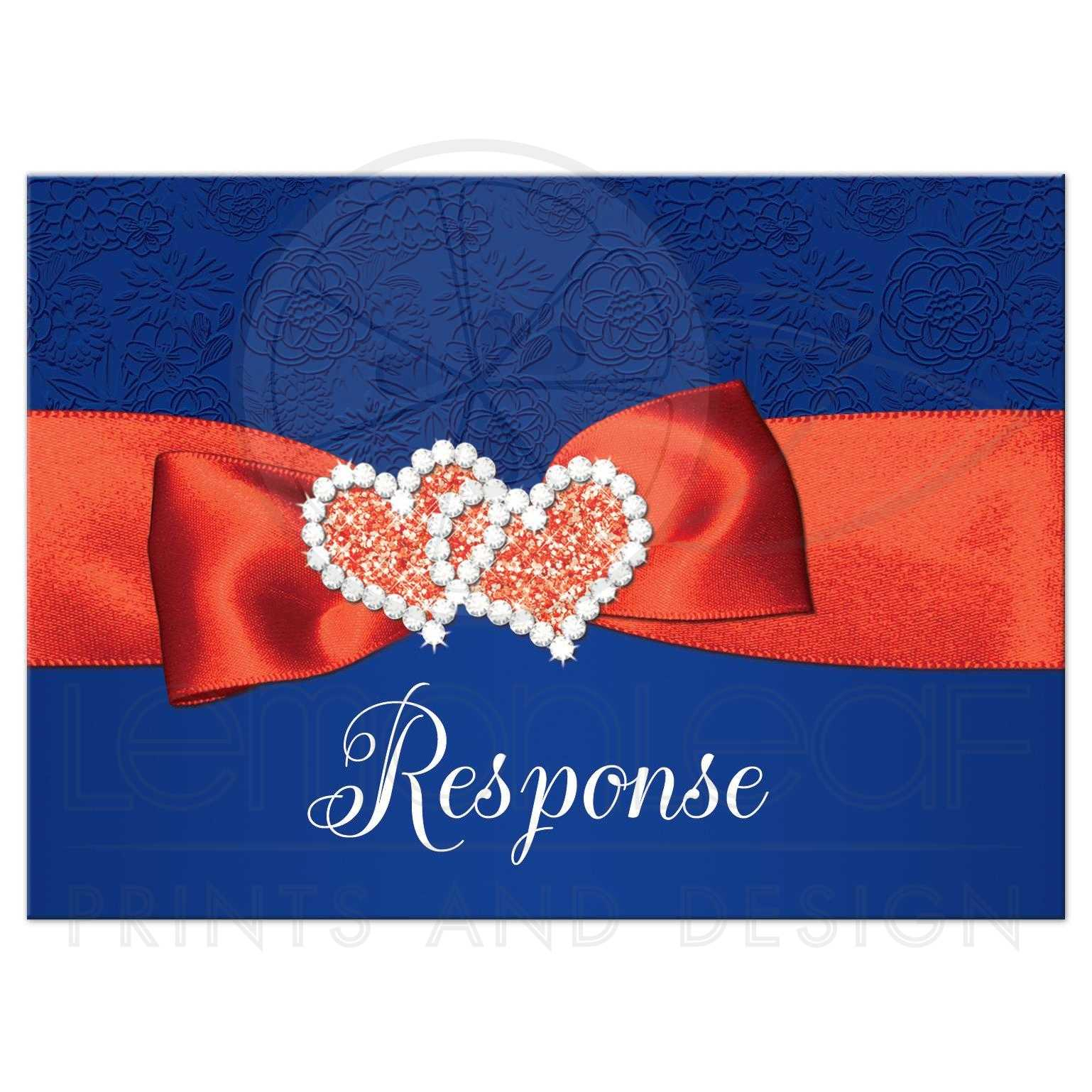 Royal Blue Orange And White Fl Pattern Wedding Response Enclosure Card Inserts With