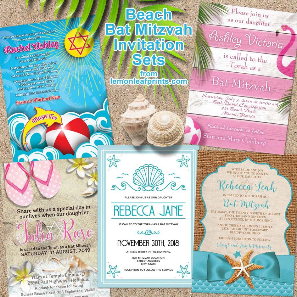 A selection of beach Bat Mitzvah invitation suites from Lemon Leaf Prints