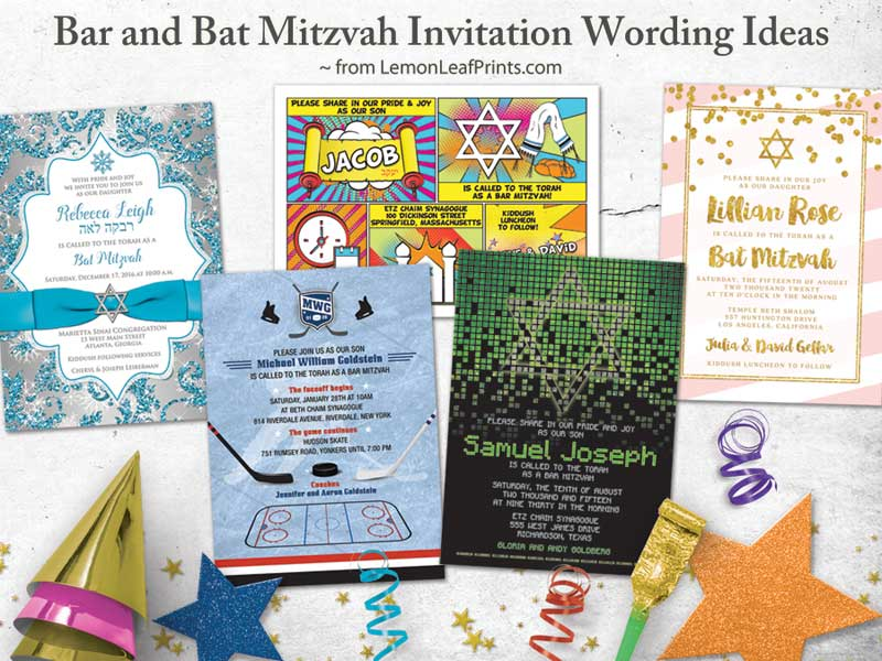 Bar Or Bat Mitzvah Wording Ideas From Lemon Leaf Prints