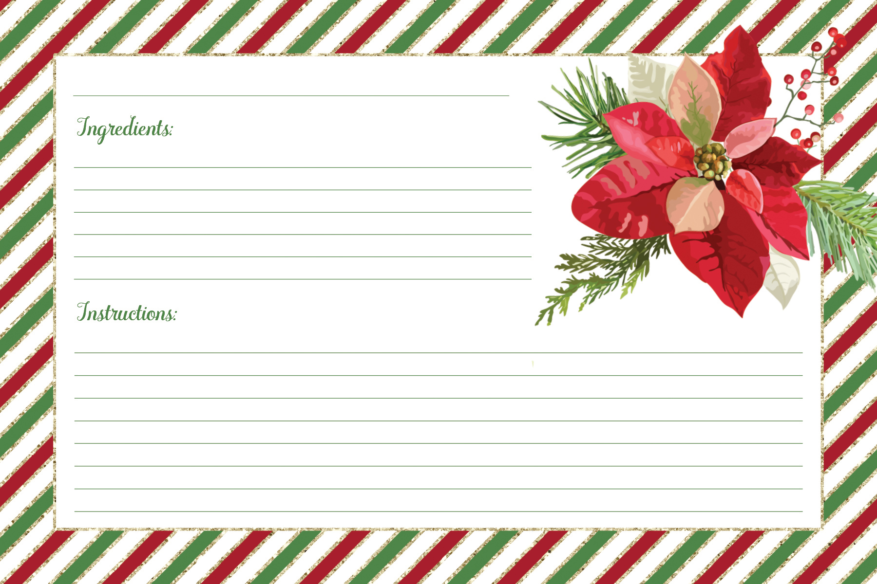 free printable fill in the blank Christmas recipe card