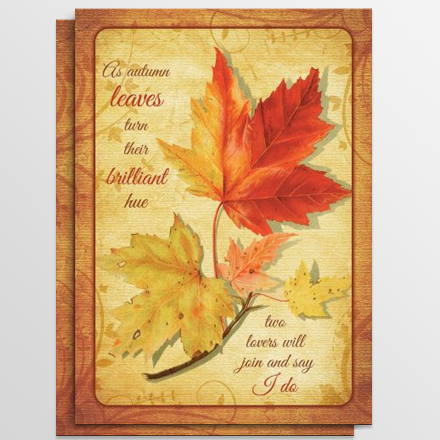 fall maple leaves vintage illustration wedding invitation - Fall Themed Wedding Invitations