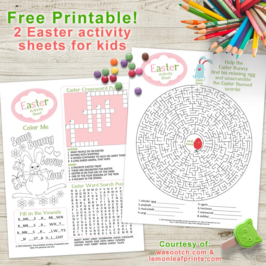 Free Printable - Easter Activity Sheets for Kids