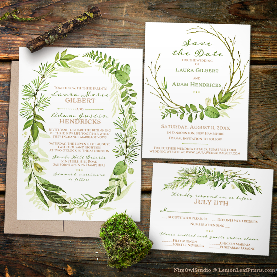 Greenery Foliage Wreath Botanical Wedding Invitation Set From Lemon Leaf  Prints