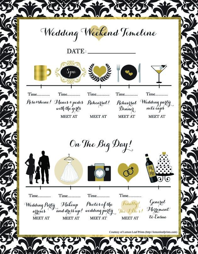 Free Printable Wedding Weekend Timeline