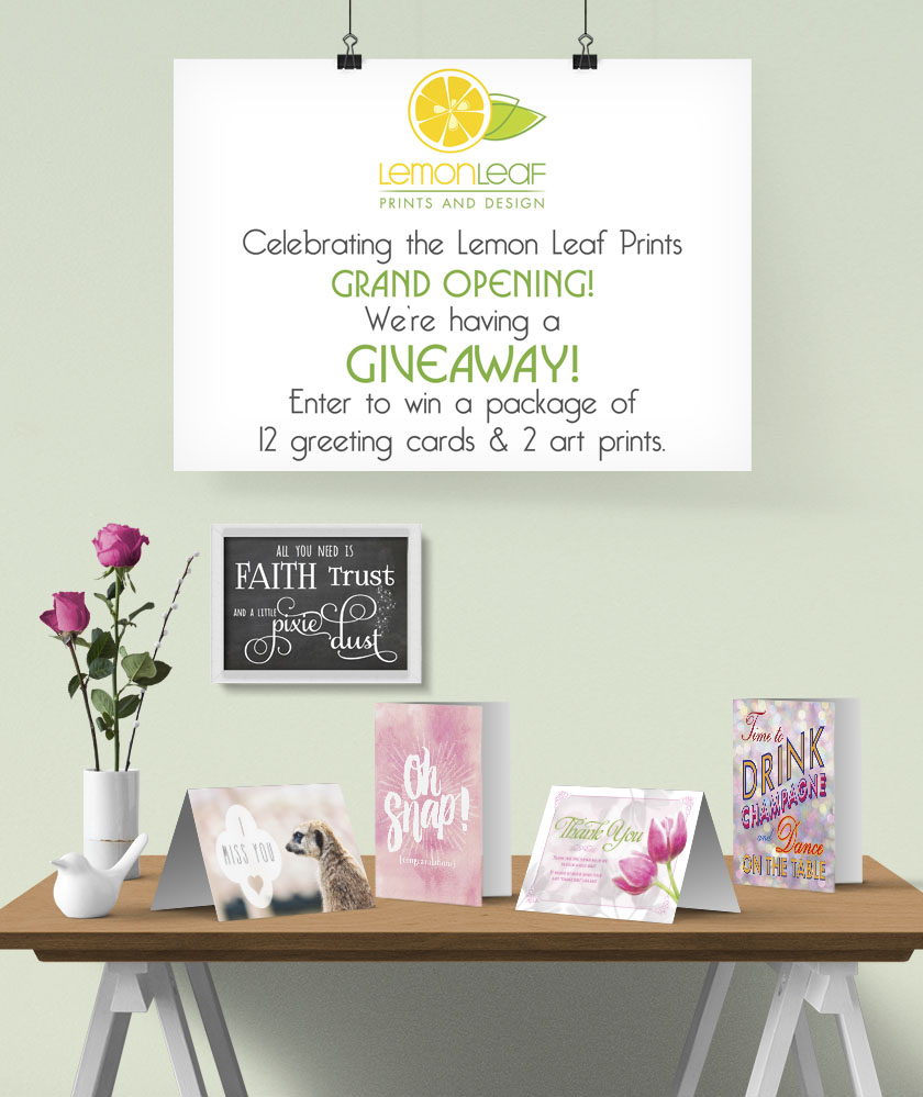 Lemon Leaf Prints Grand Opening Announcement and giveaway